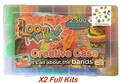 5000 Rubber Loom Bands Kit Bracelet Making Jewellery Glitter Charms Carry Gift