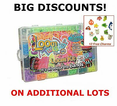 2500 Rubber Loom Bands Kit Bracelet Making Jewellery Glitter Charms Carry Gift