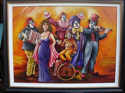 $6900 Magnificent Original Oil Lady W/ Clowns Painting Signed By Shoshi Chayat!