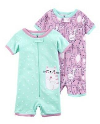 3fd7ca00e Carters Baby Girl 2 Pack Kitty Cat Rompers Pajamas Pjs Size 18 Months NWT