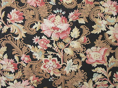 Fabric Antique French Art Nouveau Black cotton material 1.44 yards textile
