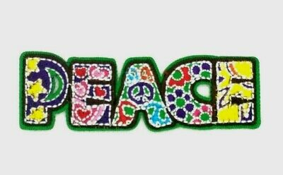 Peace Sign Flowers Patch Daisy Hippie Word Embroidered Iron On Applique 329