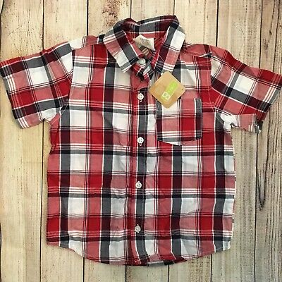Crazy 8 By Gymboree Boys 2T Short Sleeve Red Black Plaid Button Down Shirt NWT