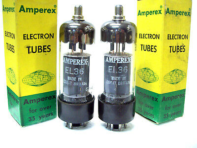 2-NEW Amperex EL36 = 6GW6 6DQ6 6CW5 Tubes MATCHED UK- Convert EL503 to use EL36
