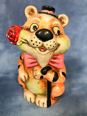 Vintage Kitsch Plaster Chalkware Tiger Piggy Coin Bank, with Hat, Roses and Cane