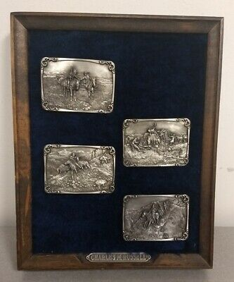 LOT OF 4 CHARLES M. RUSSELL 1982-83 Solid Pewter LTD Edition Belt Buckle Framed