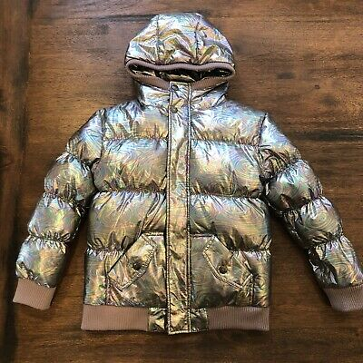 8ab025eea Appaman Girls Silver Puffer Jacket Coat Hooded Size Size 8 Down Iridescent