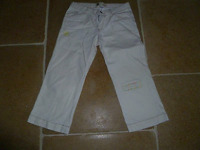 Girls GAP Lovely Capri Trousers Age 12 Embroidered Cream 100% Cotton