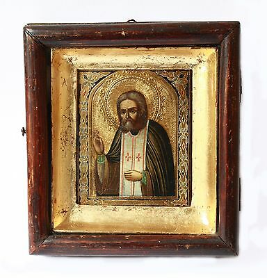 Antique 19th C Russian Wooden Icon of St. Seraphim of Sarov in Antique Kiot