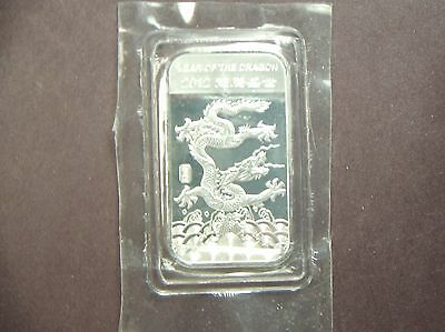 2012 Year Of The Dragon 1 Troy Ounce Silver Bar .999 Fine Silver Tx-124