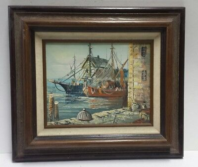 Artist Brian Roche Oil on Canvas Art Painting 8x10 Original Fishing Boats Framed