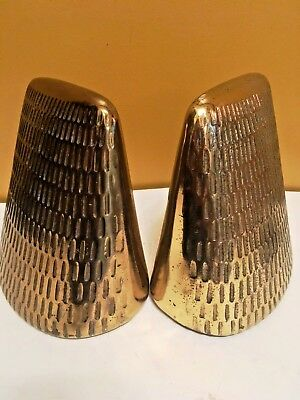Vintage Jenfred-ware by Ben Seibel  Brass  Patina Pyramid Bookends, 1950s