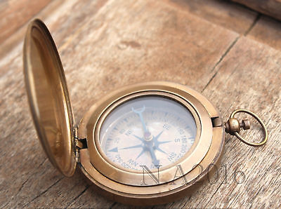 Solid Brass Push Button Compass Handmade nautical Marine Pocket Compass for gift
