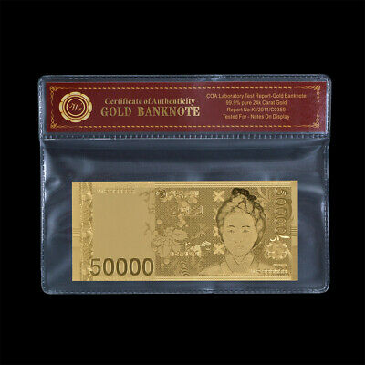WR Korea South 50000 Won Gold Banknote Paper Money Collection In COA Sleeve