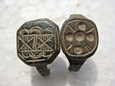 ANCIENT Medieval Bronze Rings 13-16 century AD