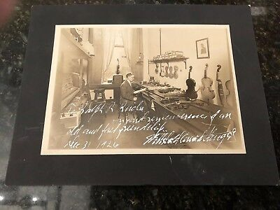 Antique Unusual Signed 1926 Photo Of A Violin Maker Luthier