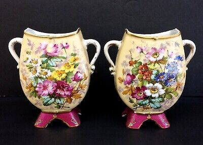 RARE Antique 19C French Pair Vases GIBUS & REDON LIMOGES FRANCE