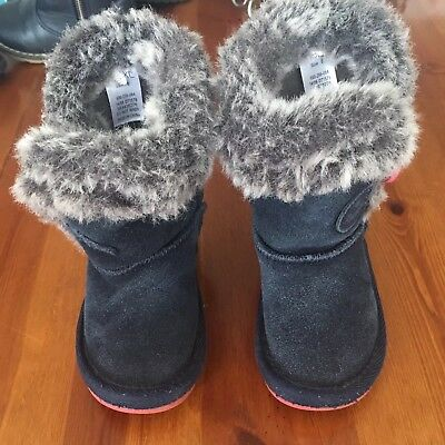 Next Girls Leather Boots UK Infants 6 In Navy Blue Very Good Condition