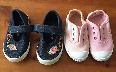 Girls Young Dimensions Shoes Infants Size 4 In Pink And Navy Blue EC
