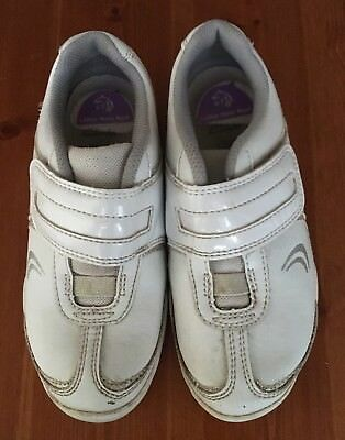 Girls Clarks Leather Trainers Infants Size 11.1/2F In White VGC