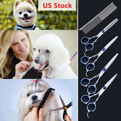 5Pcs/Set Pet Dog Grooming Scissors Straight Curved Thinning Shears Trimmer Kits