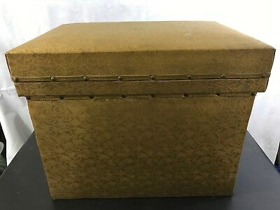 Vintage Handmade Gold Fabric Chest Metal Lined Cooler Storage