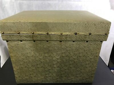 Vintage Handmade Silver Fabric Chest Metal Lined Cooler Storage
