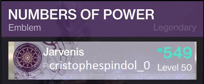 Destiny 2 Numbers of Powers Emblem PS4 ONLY