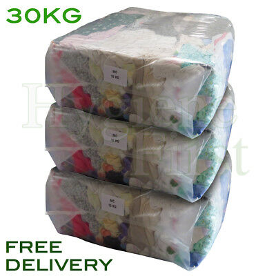 30KG Bag of Rags Cotton Rags Wipers Polishing Cloths Garage Industrial Clean