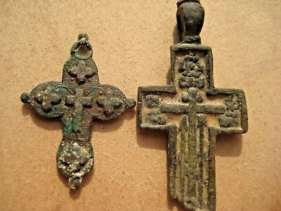 18th-19th Century Authentic  Russian Orthodox Bronze Crosses