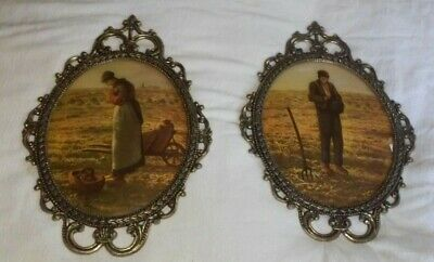 Two 2 Large Vintage Gold Gilt Ornate Metal Oval Bubble Glass Farmer Pictures Set