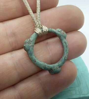 Perfect Ancient Artifact Celtic Bronze Ring Pendant Proto Money Pre- Coin #447