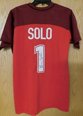 73297c70a29 HOPE SOLO SIGNED Red White Blue Team USA Soccer Jersey (JSA ...