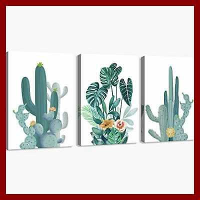 Canvas Print Wall Decor Art Watercolor GREEN Leaf Cactus Plant Pictures Painting