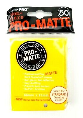 50 Ct ULTRA PRO Pro-Matte Deck Protector Card Sleeves Standard 84186 Yellow L2