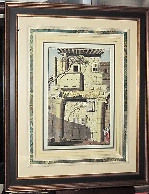 """1763 Hand Colored Etching """"The Remains Of Ancient Rome"""" Great Framing Vintage"""