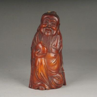 Chinese ox horn carved old man/ long life man figure statue