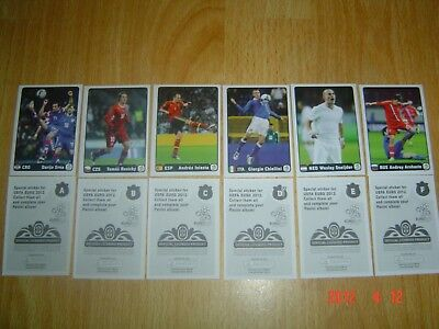 Panini EURO 2012 SUPER RARE SET A-F OF ALL 6 EXTRA stickers  !!!!!!