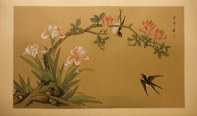 "FL123 magnolia iris swallows – Chinese painting on silk 31""x18½""/26¼""x15½"""