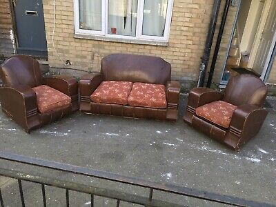 Vintage Art Deco 3 Piece Suite Sofa Armchair
