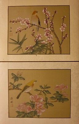 "SF05 PAIR prunus azalea bamboo birds Chinese paintings on silk 12""x9"" i9""x7"""