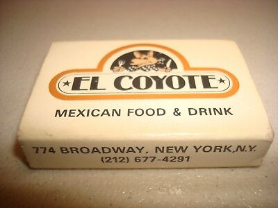 Rare Vintage Matches Match Box El Coyote Mexican Food New York NY USA Original!
