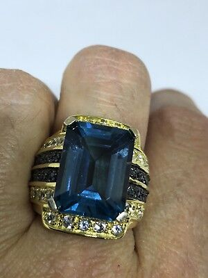 Deco Genuine Blue Topaz Vintage Golden 925 Sterling Silver Size 7 Ring