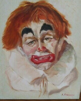 Sad Scary Clown Oil Painting On Canvas Original 14x11 Red Hair Signed
