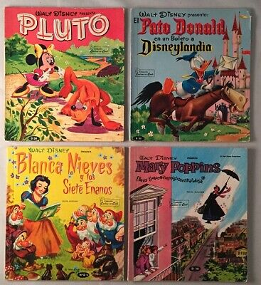 et all / 1960's Walt Disney Spanish Book Lot Mary Poppins Pluto Snow 1969