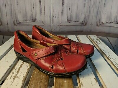 7ad965af39 Womens casual shoes comfort flats loafers slip Clarks collection leather red  6