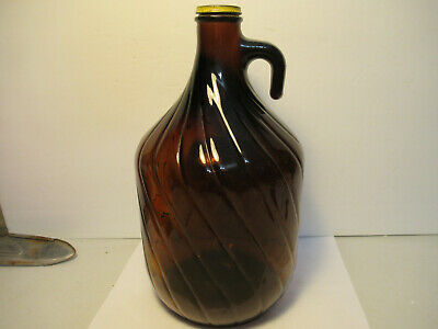 Vintage Gallon Brown Amber Glass Jug W Cap Twist Pattern Bottle Free USA Ship