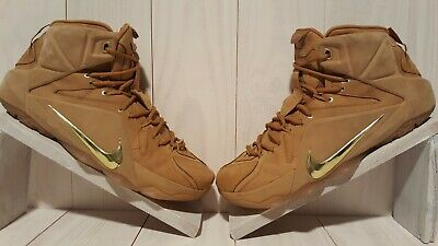 online store d6a3d afe05 Nike LeBron 12 XII EXT QS Wheat What The 744287-700 Metallic Gold Cork Size