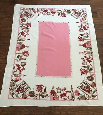 """Vintage Kitchen Tablecloth 60"""" X 48"""" PINK Red SPICES Vegetables Condiments"""