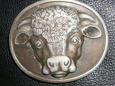 Myers Suzio 1975 Malcolm Hereford Cow Cocktails brass belt buckle